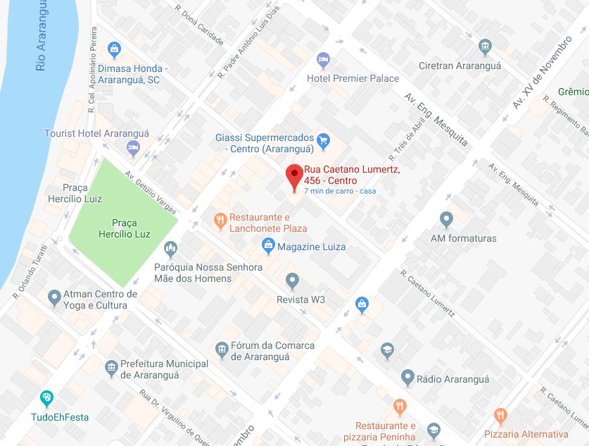 Mapa da Clínica MedSpa - Dr. Rafael Reinehr - Araranguá - SC